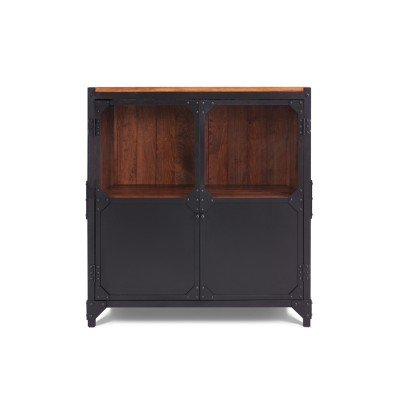 BROOKLYN Kommode Sideboard Metall Holz schwarz 2-türig